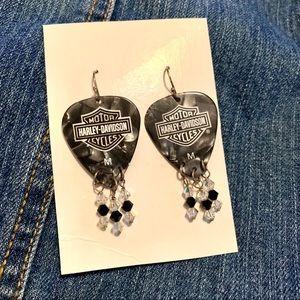 Harley Davidson guitar pick beaded dangle earrings